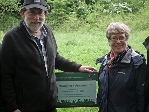 Reserve warden Gordon Dyne & NWT Chair Valerie Holt with the Margaret's Meadow plaque